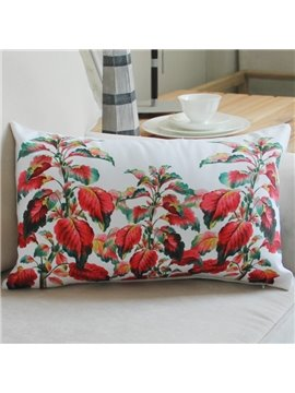 New Style Red Plant Pattern Bed Pillow