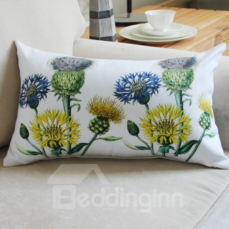 New Style Bright Flowers Pattern Bed Pillow