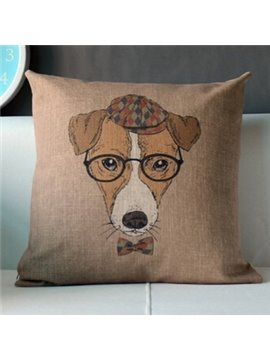 Creative Wearing Glasses Doctor Dog Throw Pillow