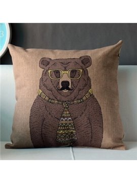 Creative Wearing Yellow Glasses and Tie Bear Throw Pillow