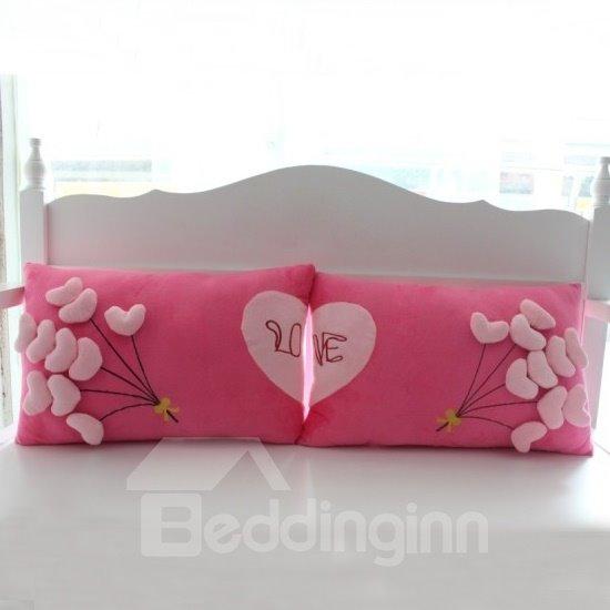 Romantic Fluff Heart Shape Balloons Wedding Bed Pillow