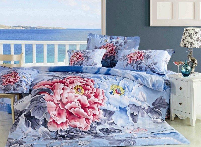 Luxury Peony Print 4-Piece 100% Cotton Duvet Cover Sets