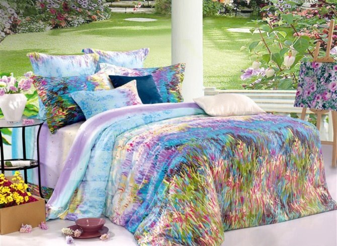 Top Class Colorful Grass Print 4-Piece Cotton Duvet Cover Sets