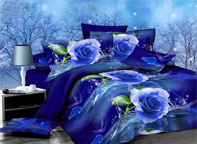 Graceful Blue Rose Print 4 Piece Polyester Duvet Cover