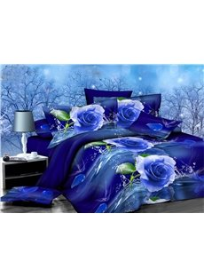 Graceful Blue Rose Print 4-Piece Polyester Duvet Cover Sets