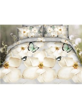 Amazing White Flower and Green Butterfly Print 4-Piece Polyester 3D Duvet Cover Sets