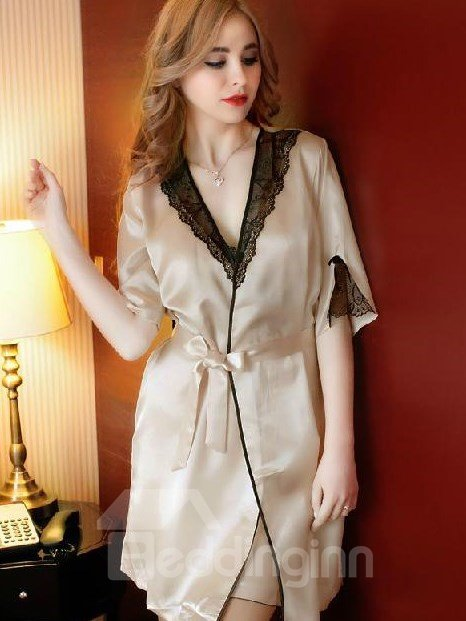 Graceful Smooth Sexy Lace Pattern Female Loungewear