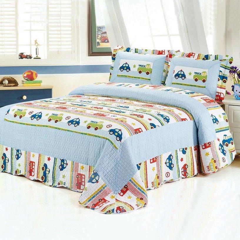 Super Soft Car Stripes Pattern 3-Piece Bed in a Bag