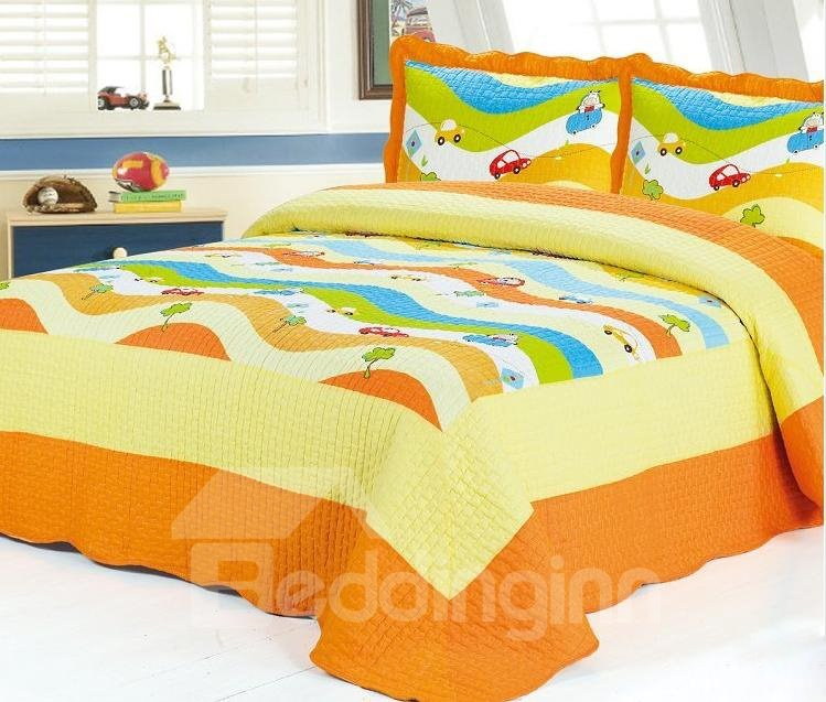 Super Comfortable Bright Color Car Pattern 3-Piece Bed in a Bag
