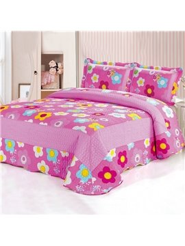 Romantic Bright Pink Sunflowers Pattern Bed in a Bag