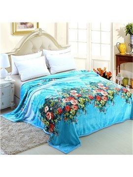 Fresh Colorful Flowers Pattern Sky Blue Blanket