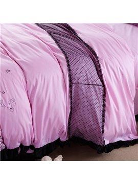 High Quality Flower Print Lace Trimmed Princess 4-Piece Duvet Cover Sets
