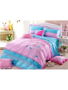 Top Quality Korean Style Concise Floral Design 4-Piece Duvet Cover Sets