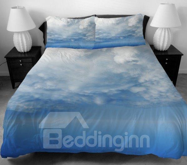Endless White Clouds Print 4-Piece Duvet Cover Sets