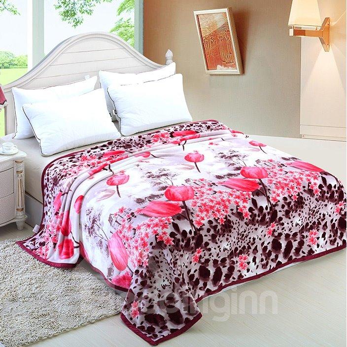 Fancy Bright Pink Lotus Pattern Flower Blanket