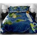 The World Map Print 4-Piece Duvet Cover Sets