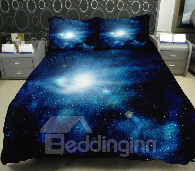 Shining star in dark blue outer space print 4 piece duvet for Outer space bedding