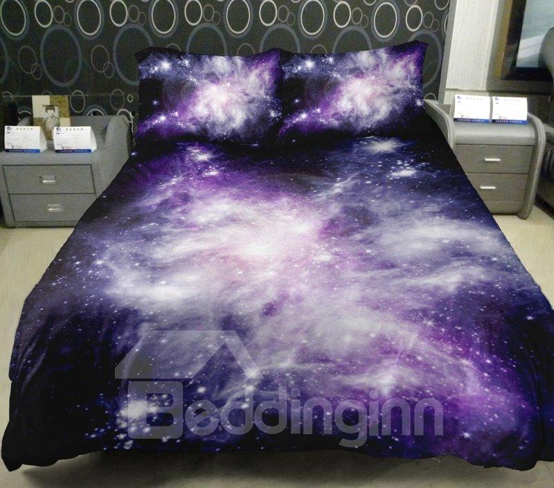 Charming Purple Shining Star Print 4-Piece Duvet Cover Sets