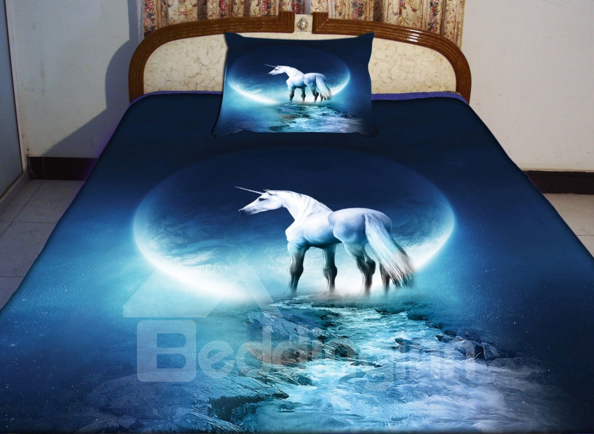 Beautiful Blue Unicorn Print 4 Piece Duvet Cover Sets