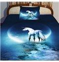 Beautiful Blue Unicorn Print 4-Piece Duvet Cover Sets