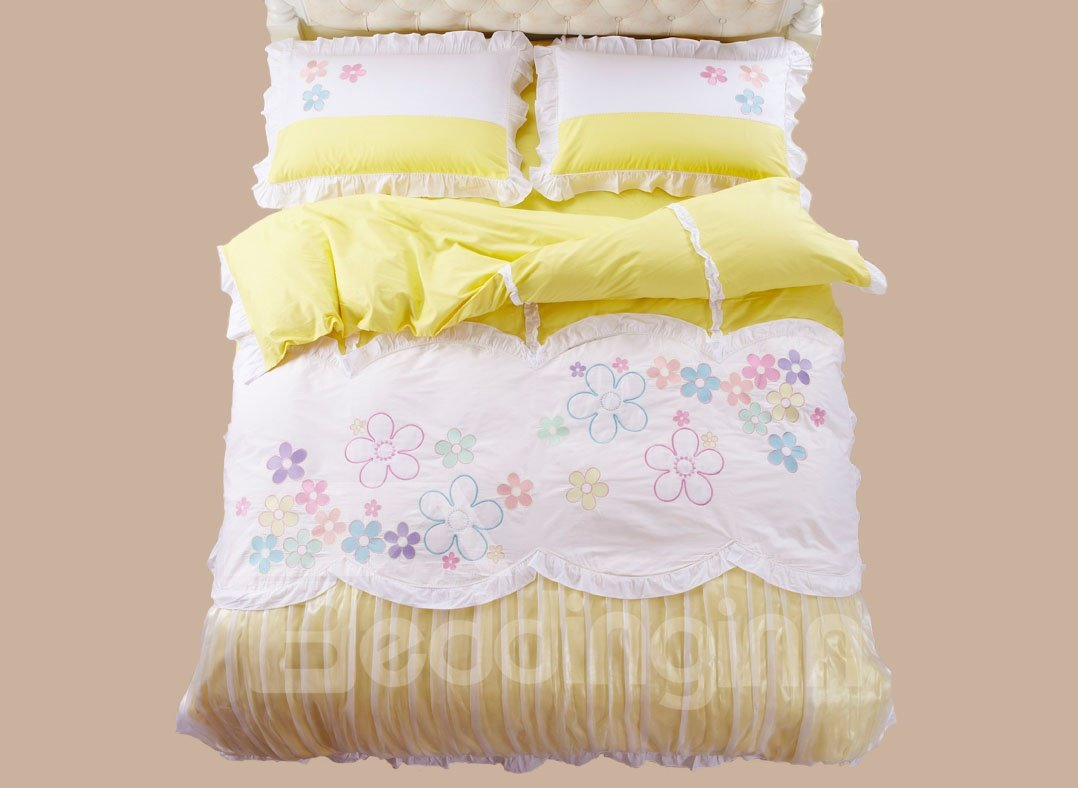 Hot Selling Colorful Flowers Print 4-Piece Duvet Cover Sets
