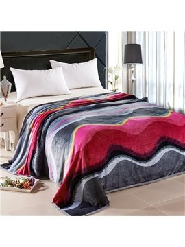 Stylish Red and Dark Gray Wave Stripes Thicken Blanket