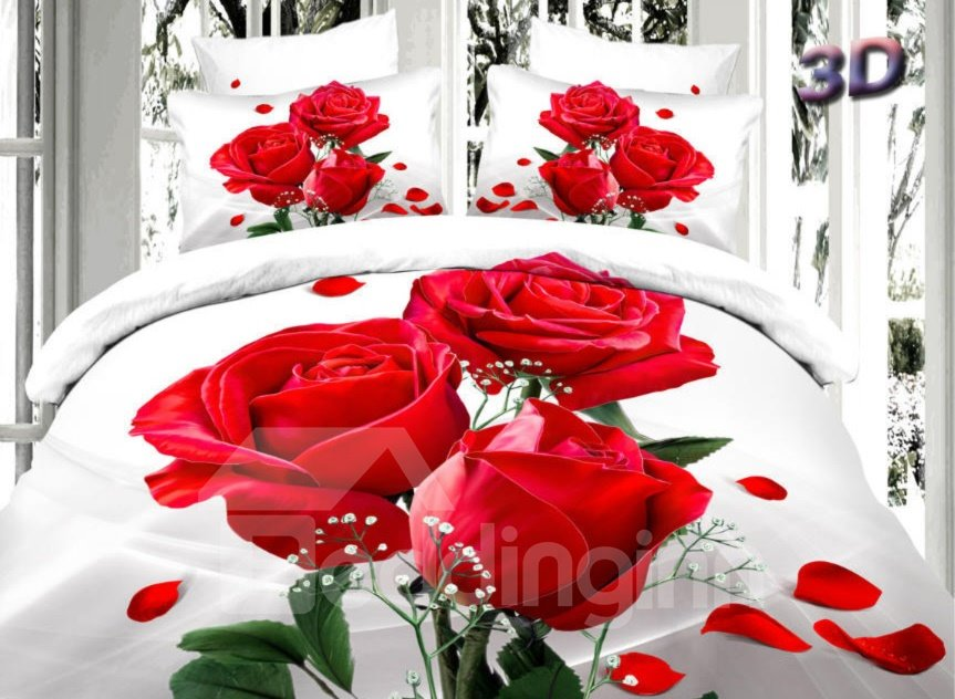 Romantic Red Roses Print 4-Piece 100% Cotton Duvet Cover Sets 11038283