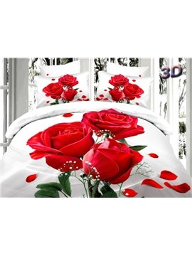Romantic Red Roses Print 4-Piece 100% Cotton Duvet Cover Sets