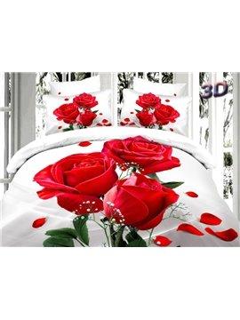 Romantic Red Roses Print 4-Piece 100% Cotton Duvet Cover Sets