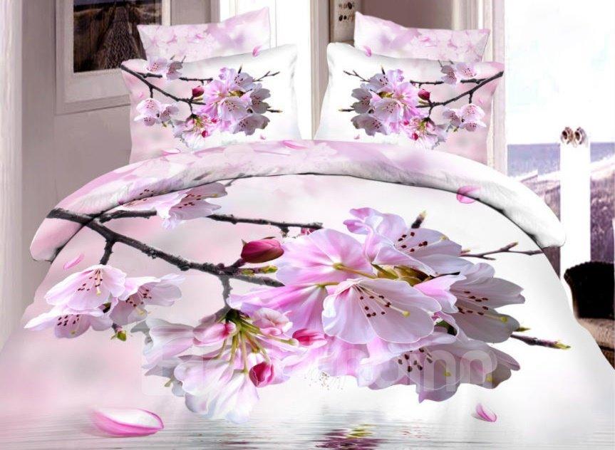 Very Beautiful Pink Peach Blossom Print 4-Piece Duvet Cover Sets 11038513