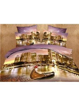 Seaside City and Little Boat Print 4-Piece Cotton Duvet Cover Sets