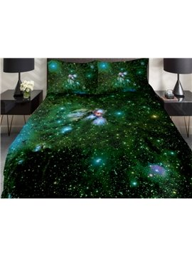 Shining Green Galaxy Print 4-Piece Duvet Cover Sets