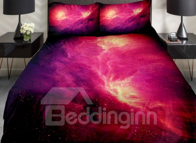 Charming Fire Red Nebula Print 4-Piece Duvet Cover Sets