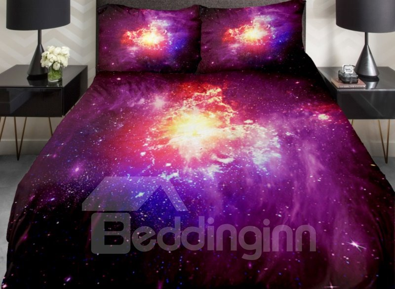 Shining Star and Colorful Nebula Print 4-Piece Duvet Cover Sets