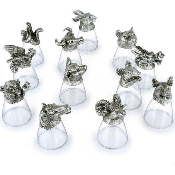 The Small Size Twelve Zodiac Liquor Glasses Cup Set
