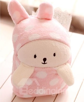 Lovely Bright Color Little Bear White Dots Novelty Blanket