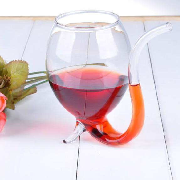 Fantastic High Quality Wine Glass Cup With Drinking Tube Straw 11039060