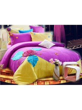 Hot Selling 100% Cotton Floral Pattern 4-Piece Duvet Cover Sets