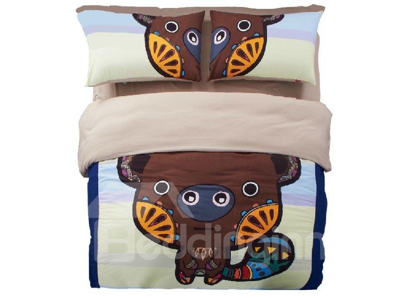 New Arrival Cute Little Bear Cartoon 4-Piece Duvet Cover Sets