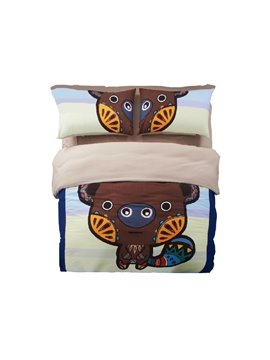 New Arrival Cute Little Bear Cartoon 4-Piece Duvet Cover Sets
