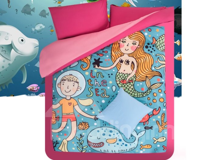 Comfortable Mermaid and Blue Whale Print 4-Piece Coral Fleece Duvet Cover Sets