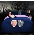 Comfortable Cartoon Night Owl Print 4-Piece Duvet Cover Sets