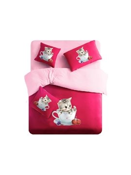 Cute Baby Cat in Cup Print 4-Piece Duvet Cover Sets