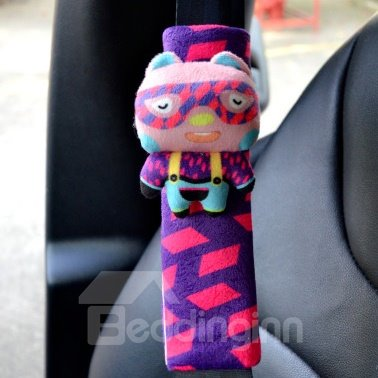 Lovely Wearing Swimming Goggles Rabbit Red Blue Checks Seat Belt Cover