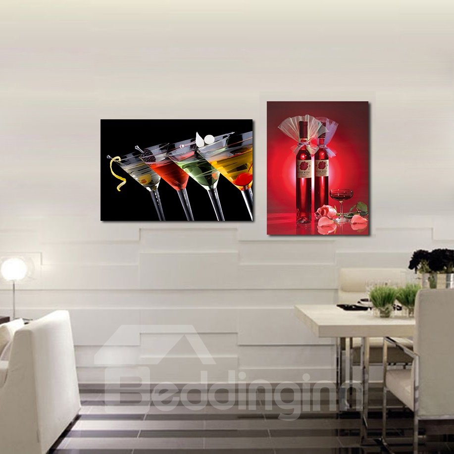 Popular Wine Glasses Pattern 2-Pieces of Crystal Film Art Wall Print