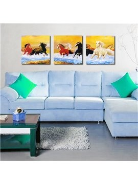 Classic Horses 3-Pieces of Crystal Film Art Wall Print