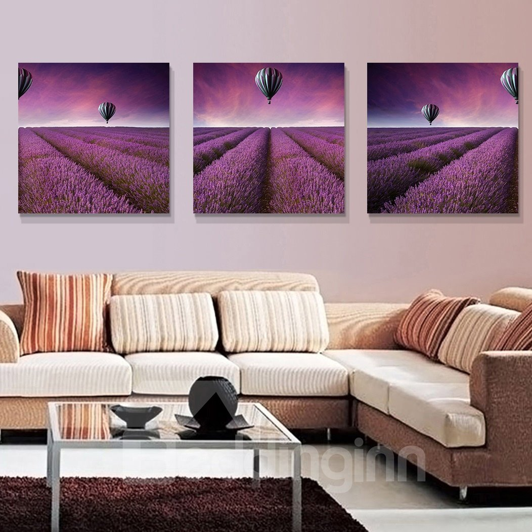 High Quality Pretty Flowers 3-Pieces of Crystal Film Art Wall Print