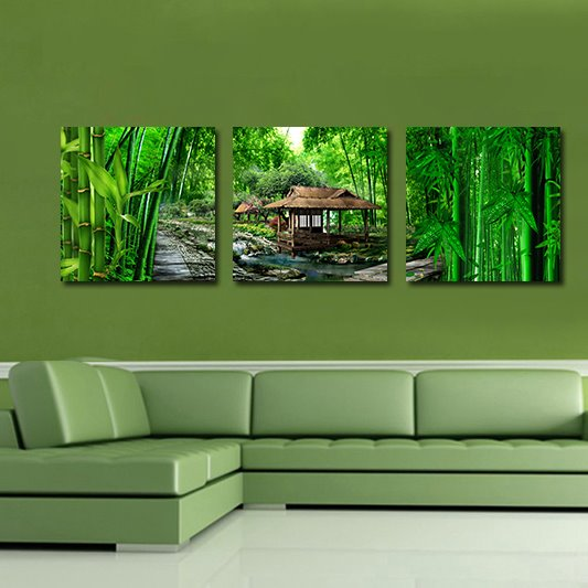 Pretty Green Bamboo 3-Pieces of Crystal Film Art Wall Print