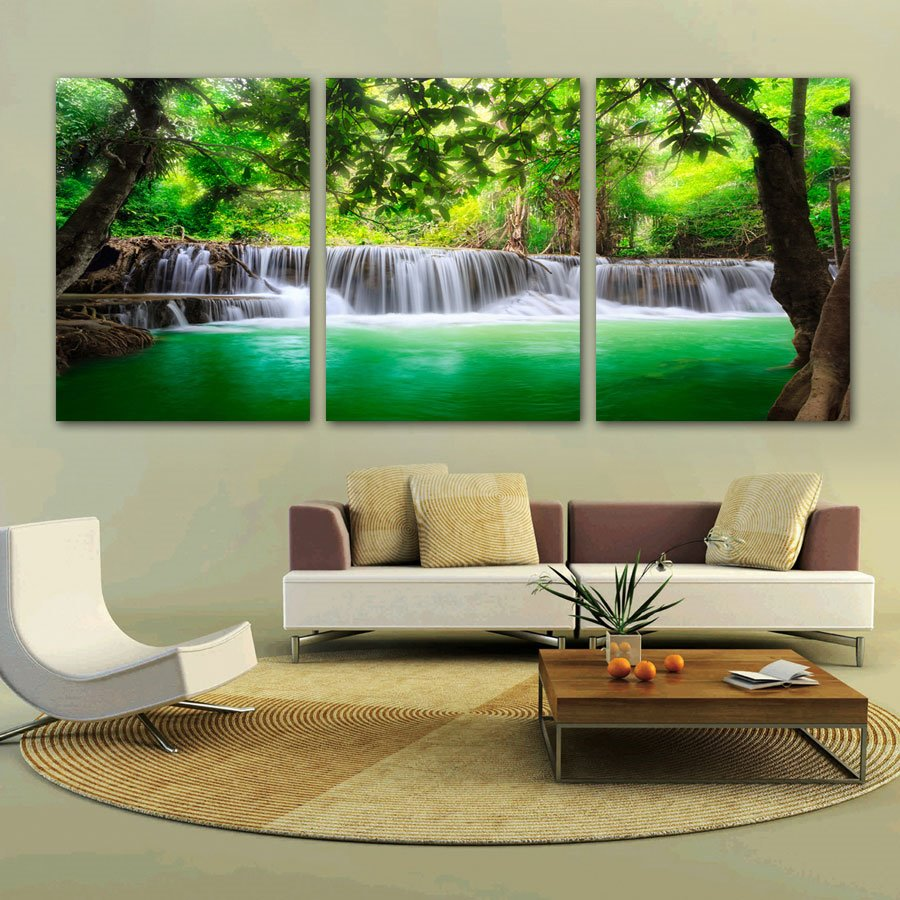 Natural Scenery Waterfall 3-Pieces of Crystal Film Art Wall Print