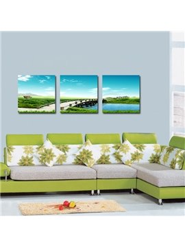 Wonderful Bridge Stream 3-Pieces of Crystal Film Art Wall Print